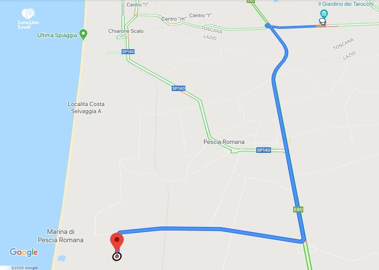 Giardino Tarocchi map
