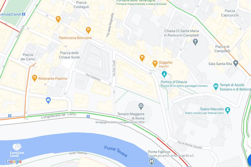 Ghetto di Roma, mappa