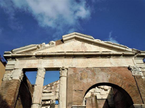 Ghetto di Roma, scritta dedicatoria del Portico d'Ottavia