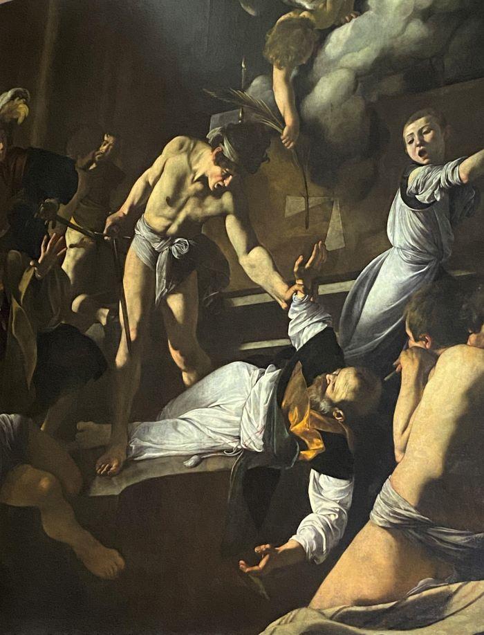 Caravaggio a Roma, particolare del Martirio di San Matteo