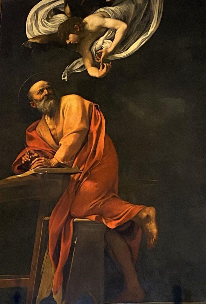Caravaggio a Roma, particolare di San Matteo e l'angelo