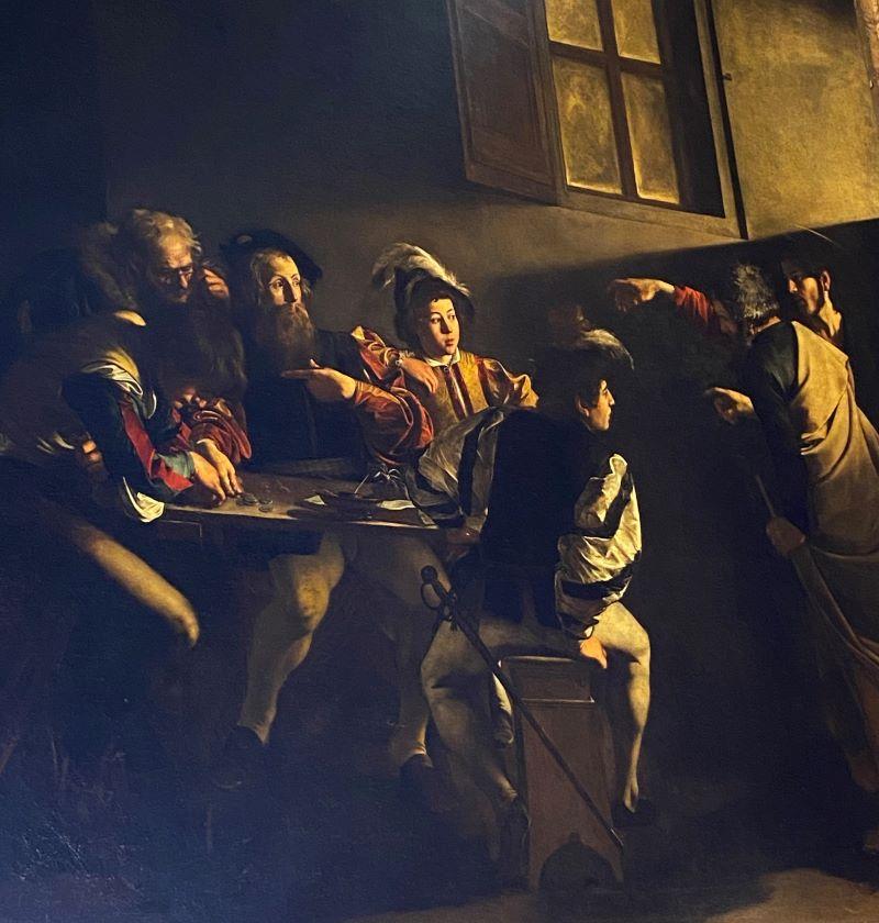 Caravaggio a Roma, particolare della Vocazione di San Matteo