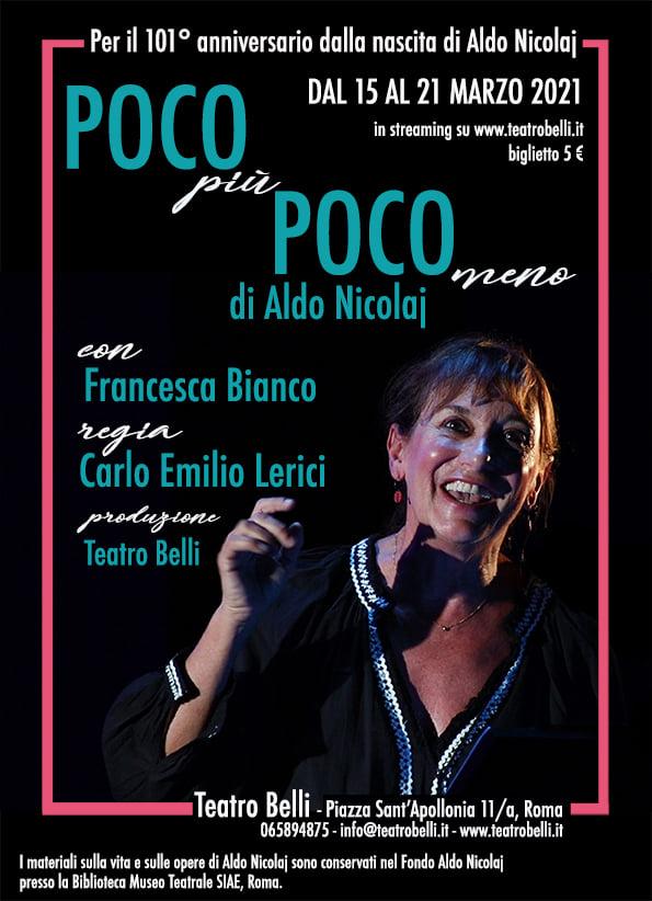 eventi online a Marzo, la locandina del Teatro Belli di Roma.