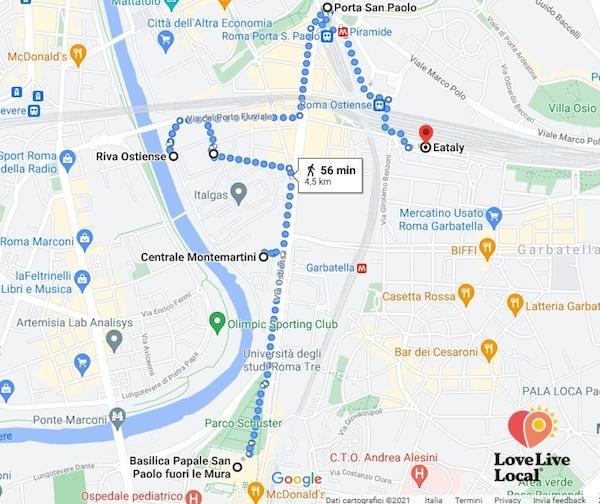 Quartiere ostiense, mappa percorso