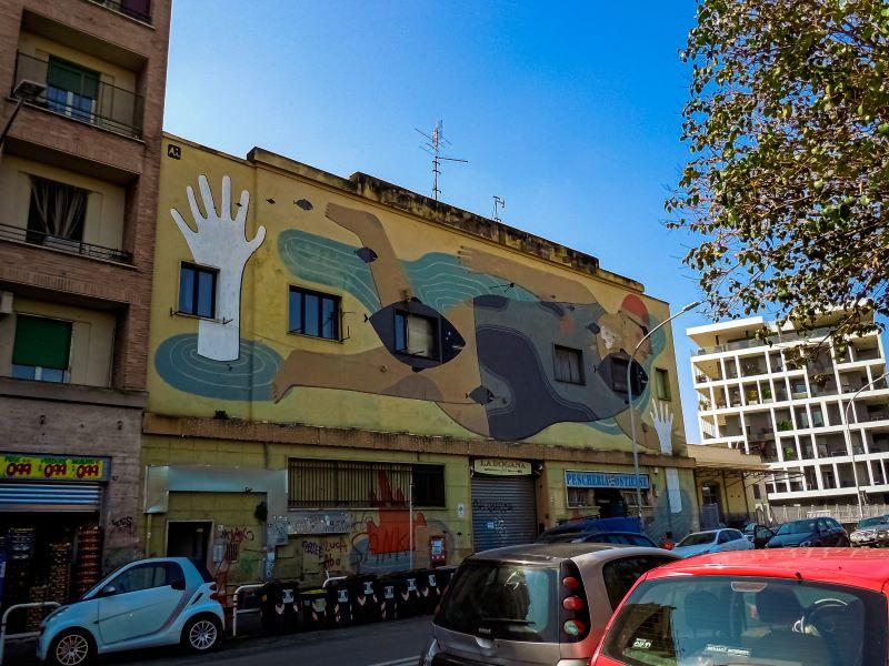 Murales di Ostiense Fish'n'Kids di Agostino Iacurci