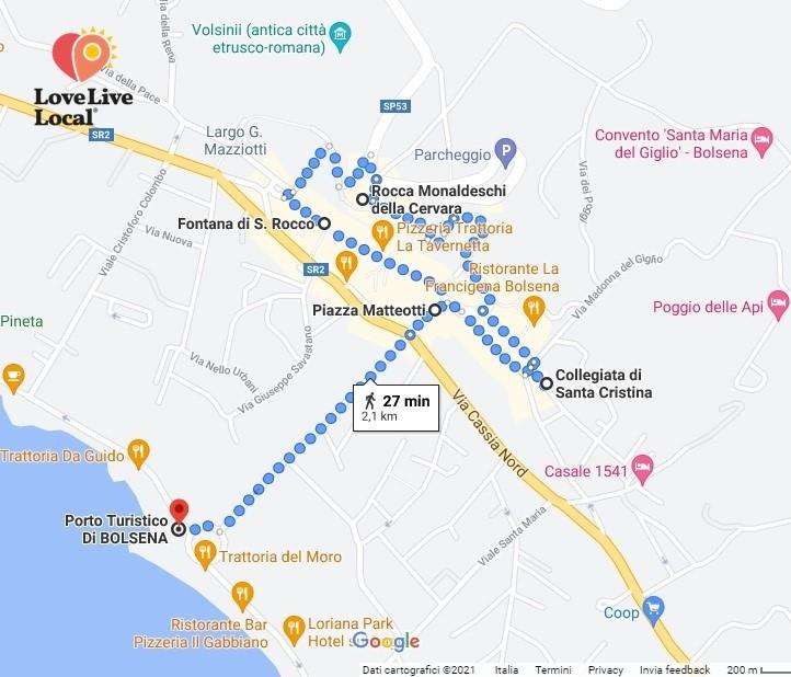 Bolsena, mappa percorso