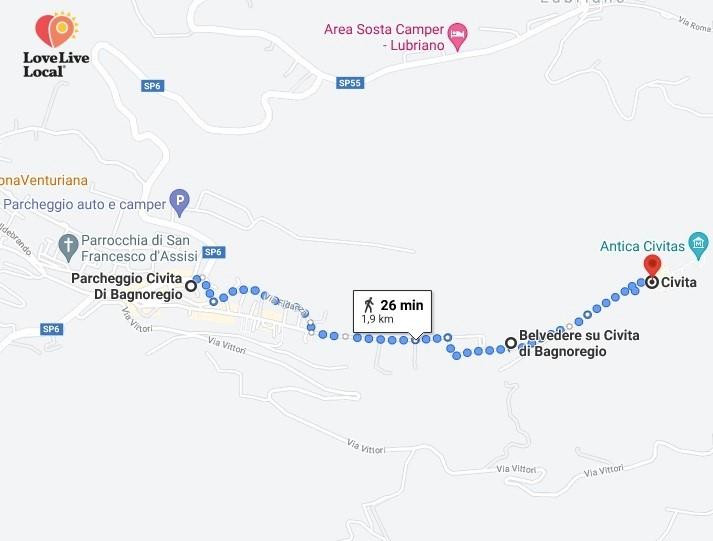Mappa dal parcheggio da Bagnoregio a Civita