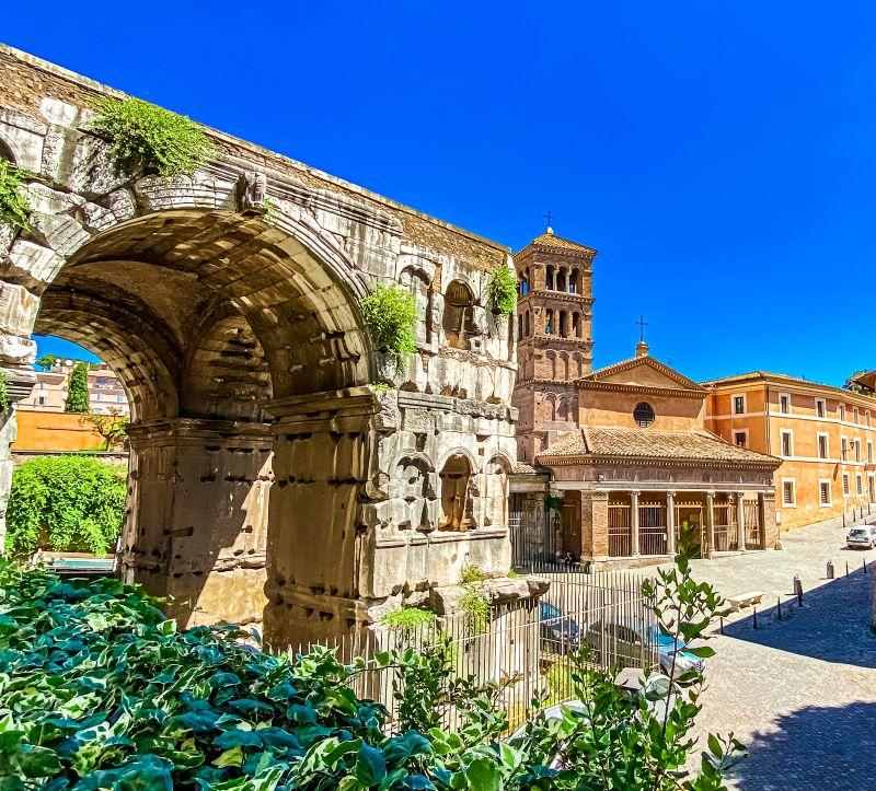 Velabro l'Arco di Giano e la chieda di San Giorgio