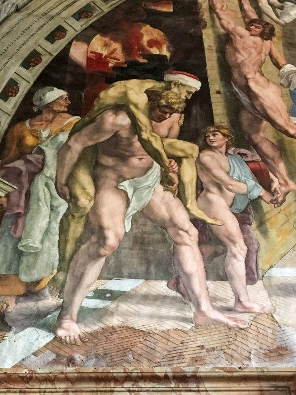 Velabro Enea fugge da Troia con Anchise e Ascanio