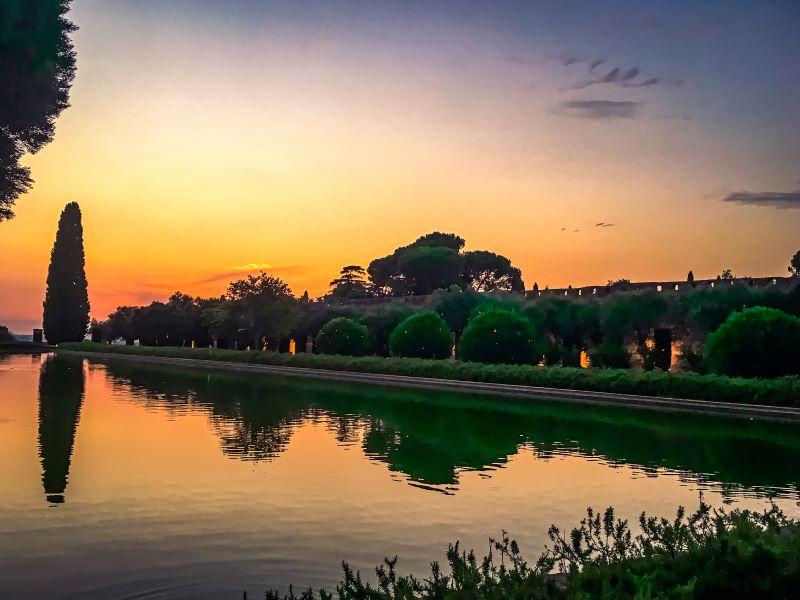 Tivoli il tramonto dal Pecile di villa Adriana